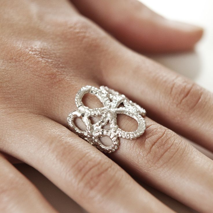 TATTED LACE RING silver