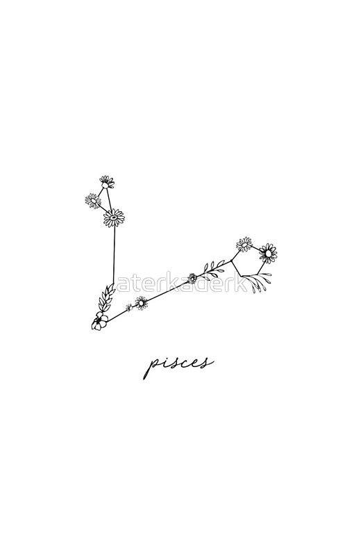 'Pisces Zodiac Wildflower Constellation' iPhone Case by aterkaderk