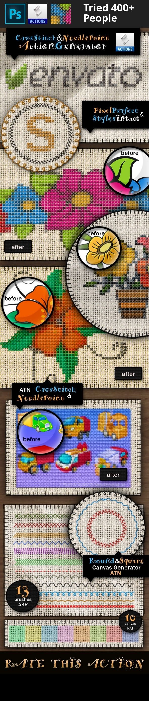 canvas pattern, cross stitch generator, cross stitch pattern, needlepoint generator, photoshop action, stitch action, stitch border, stitch brushes, stitch photoshop       UPDATE: I have added a bonus action that allows you to set the size of the cross stitch. The old action uses a 12px cross stitch cell while the new action allows you to choose the size from 1px to 100px .   This gobelin editor action pack will allow you to create realistic cross stitch and needlepoint effects out of…