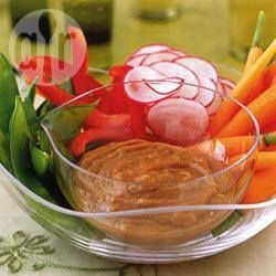 Foto recept: Gestoomde groenten met pindasaus