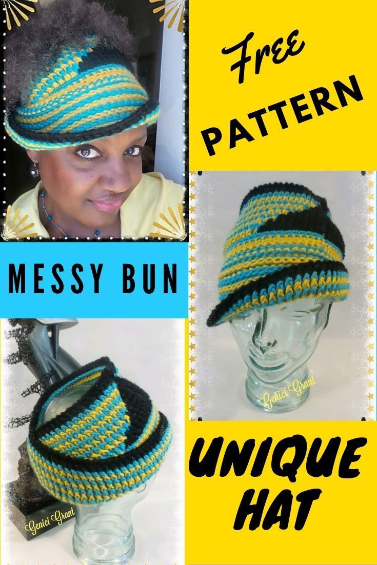 Free Crochet Messy Bun Hat Look who made a cloch hat into a bun hat? Try this fr…