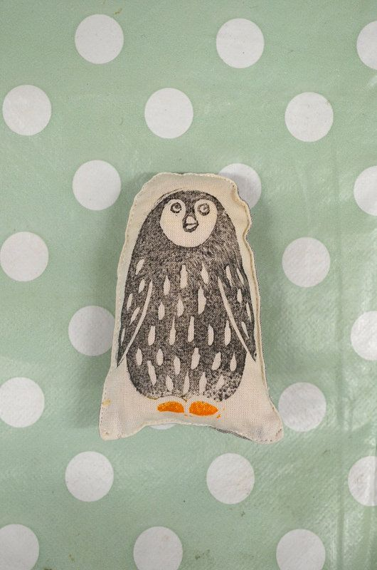 'Organic Baby Penguin'  made by Ellie Livermore. Hand printed linocut. Organic cotton fabric and stuffing.