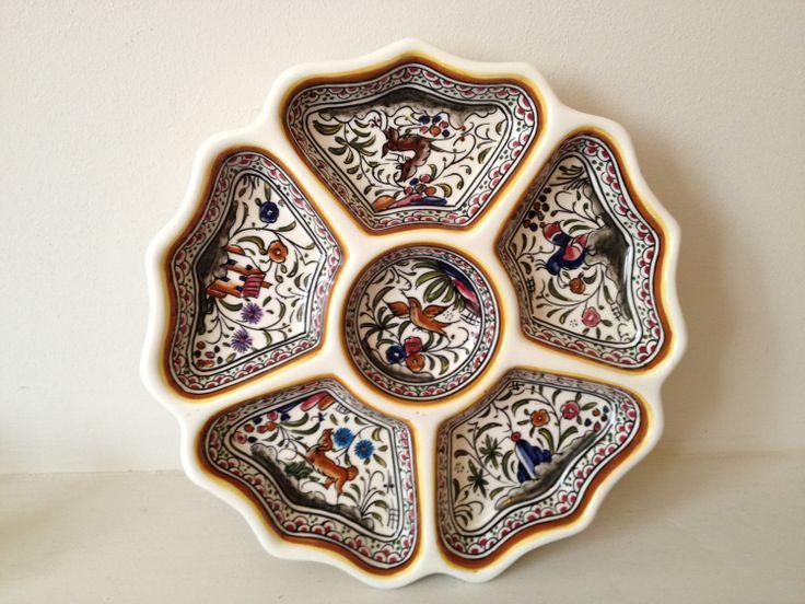 Signed Portuguese ceramic hand painted dish