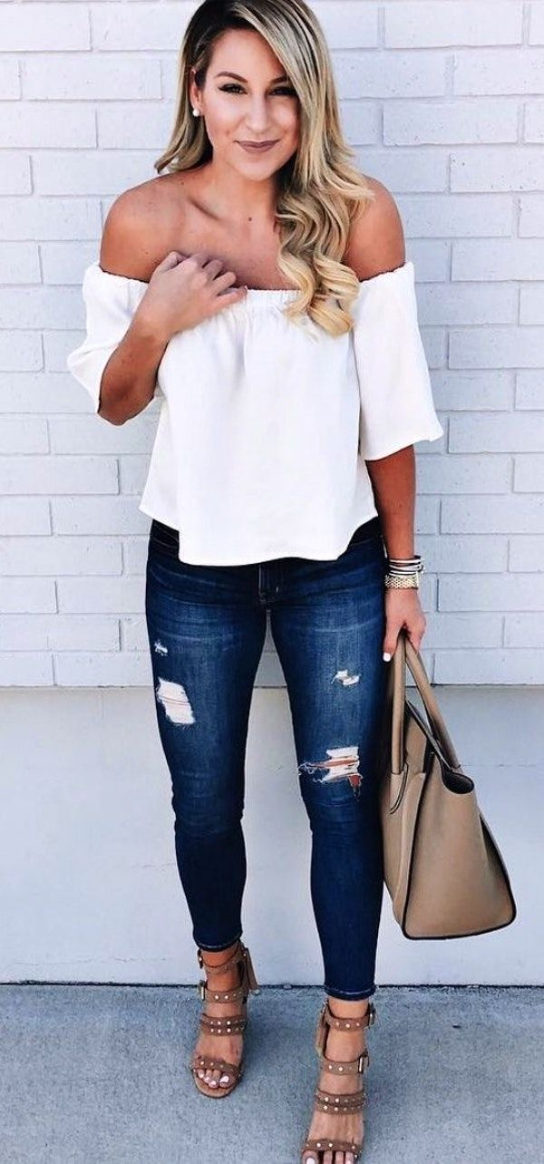 summer outfits White Off The Shoulder Top + Ripped Denim Jeans + Brown Sandals