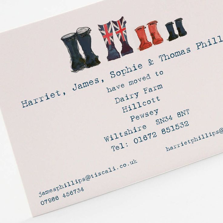 Welly Boot Family Change of Address Card