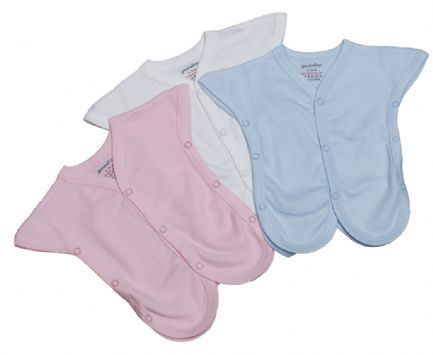 Pack of 2 Premature incubater vests. These conveniant incubater vests are ideal for smaller babies. Made from 100% cotton with popper fastenings to each side and down the front making these vests a very useful item to your baby's wardrobe. Available in pink, white and blue. In sizes 1-2lbs and 2-3lbs.