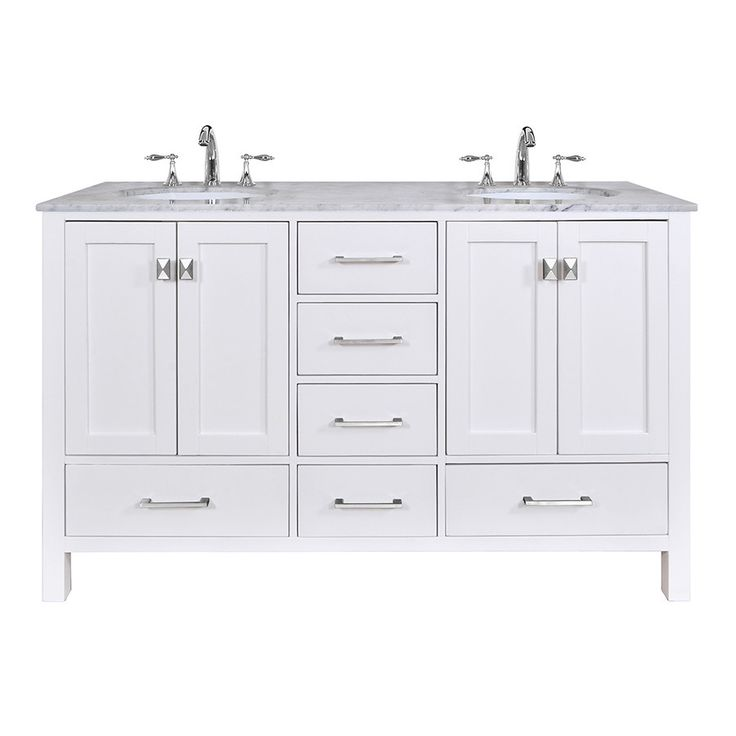 60 Inch Malibu Pure White Double Sink Bathroom Vanity With Carrara Marble Top Overstock