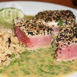 Tonno scottato all'orientale con salsa di wasabi e coriandolo, Ricette giapponesi *-*