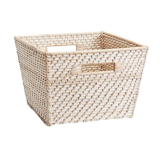 Large Quinn White Washed Basket White Wash Storage