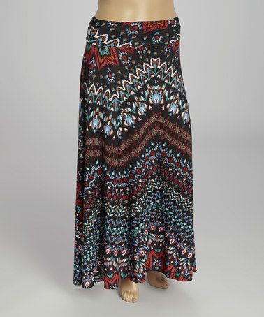 Another great find on #zulily! Red Tribal Maxi Skirt - Plus by Avital #zulilyfinds