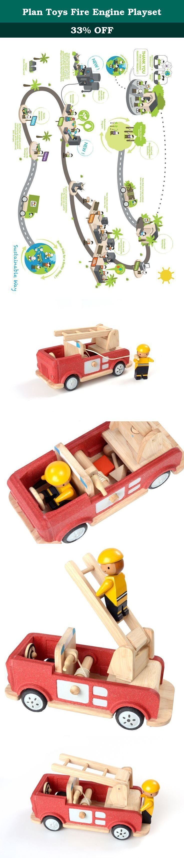Plan Toys Fire Engine Playset. Fight those fires with PlanToys Fire Engine! Features a rotating ladder, retractable hose, and storage compartment for all your fire-fighting gear. Includes one fire fighter. (Compatible with PlanToys Play House).