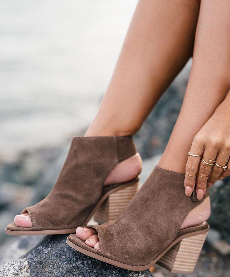 Slingback block heel booties in taupe suede