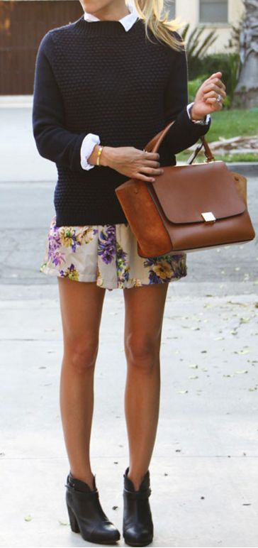 Perfect idea to make a summer floral dress into a fall look with a sweater on top