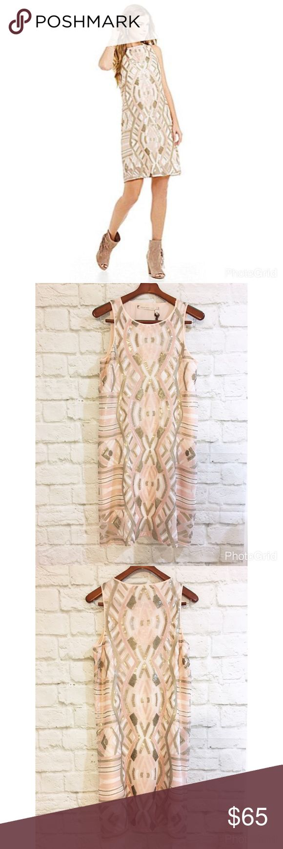 """Chelsea and violet Aztec print sequin dress Beautiful Aztec print sequin dress in pale pink. NEw with tags. Size medium, a-line silhouette. Bust 18"""" length 38"""". Chelsea & Violet Dresses Asymmetrical"""