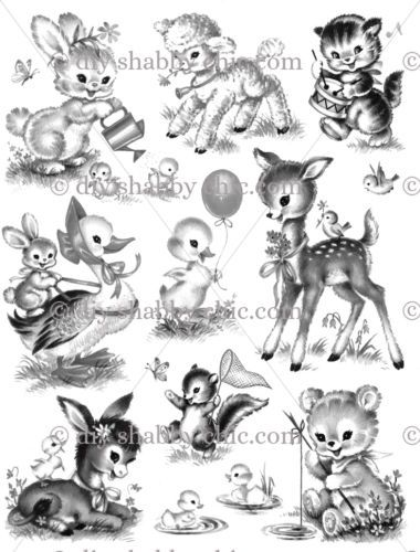 EASTER-ANIMALS-CHILDRENS-KIDS-DECAL-SHABBY-CHIC-IMAGE-TRANSFER-VINTAGE-LABELS