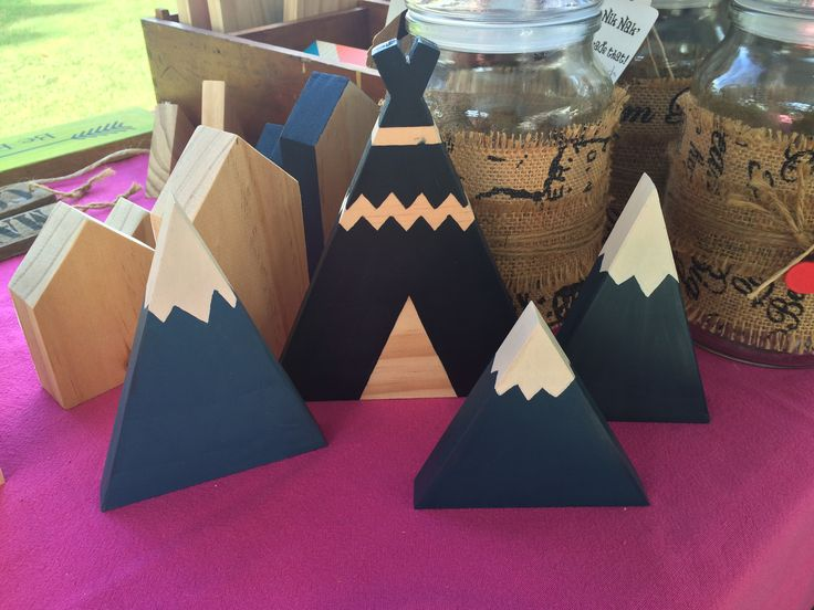 wooden teepee & mountains handmade by Patrice @ 'Nik Nak' I made that!