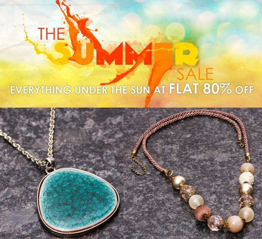 Get all kind of #jewellery including #bracelet, #Necklace, #pendants, #earrings, maang tika etc. by #Dee'$Jewellery at a great deal of #flat80% off as the #summerSale is going on.