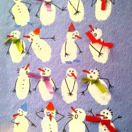 Inspiration: Fingerprint snowmen. How cute are these?