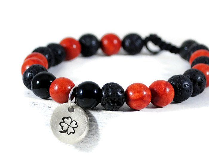 RED MAMBA Men's GemStone Adjustable Macrame Bracelet.