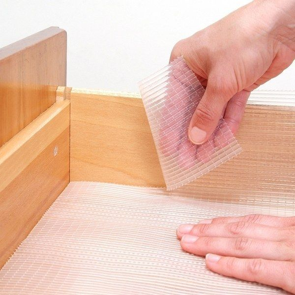 Then consider lining your drawers and cabinets with non-adhesive liners to make them easy to clean in the future.