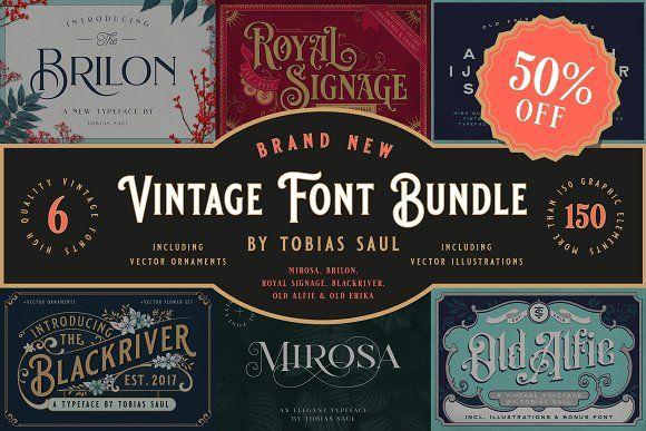 Vintage Font Bundle Vintage Fonts Font Bundles Fonts