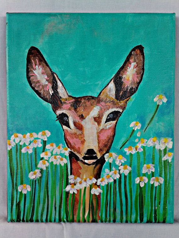 Deer with Chamomile by mariapngartstudio on Etsy