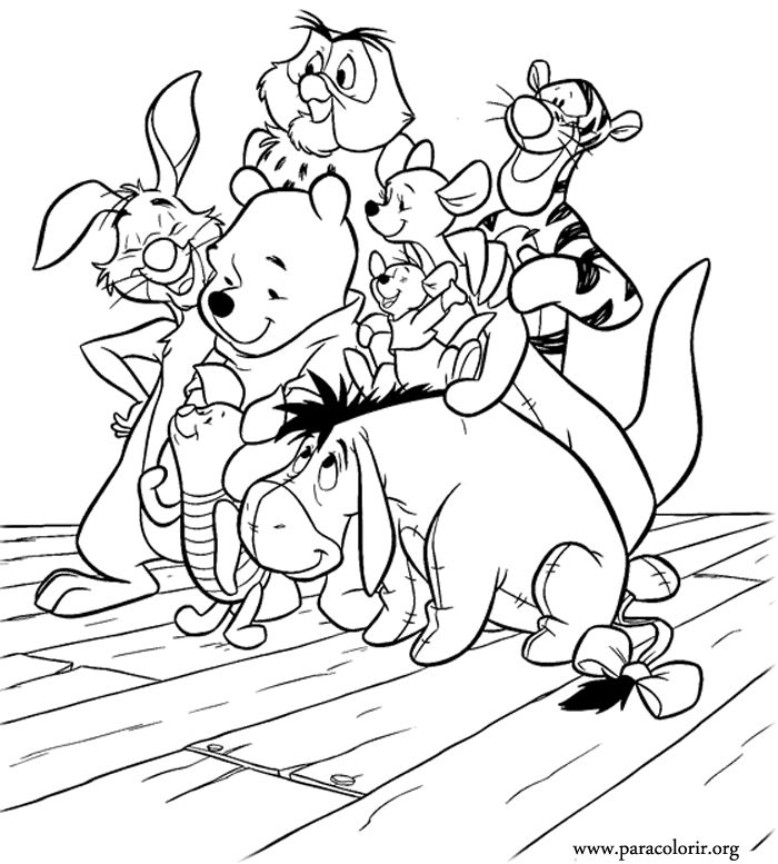 a beautiful coloring page with winnie the pooh and his friends piglet tigger
