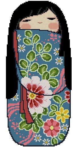 Kokeshi Girly Doll 6 (Mika) - Cross Stitch Chart - Click Image to Close