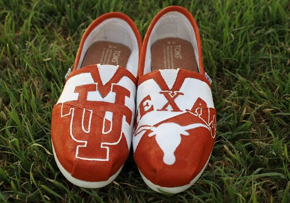 Texas Longhorns Hand Painted Toms on Etsy, $95.00
