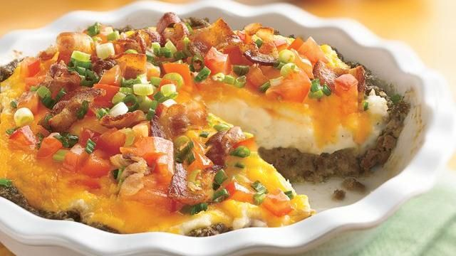 Ground Beef and Twice-Baked Potato Pie: Twice Baked Potatoes, Ground Beef, Food, Recipes, Groundbeef, Main Dishes, Feet, Loaded Baked Potatoes