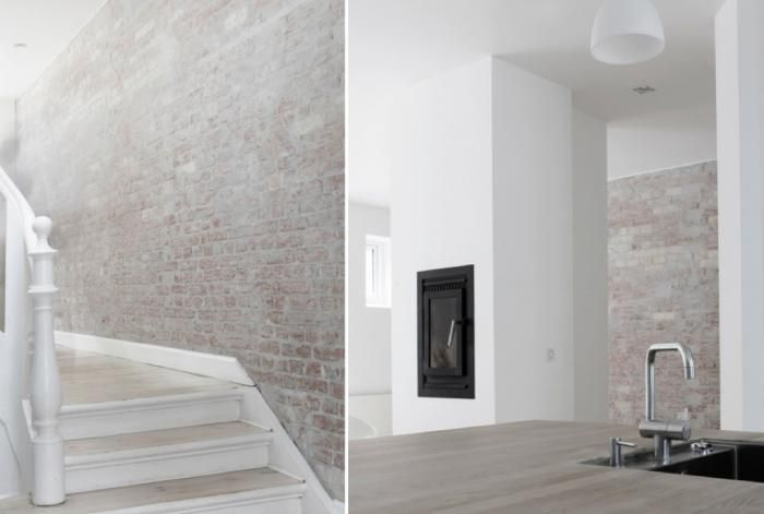 Treatment for the brick fireplace :: Bricks made pale with a light wash of white paint from Norm Architects in Copenhagen.