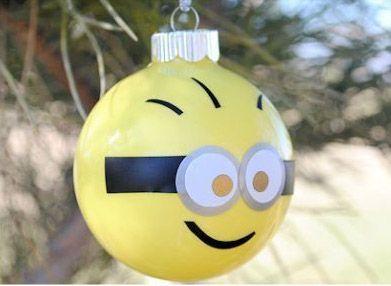 bolas arbol navidad dibujos, minion - DIY navidad niños