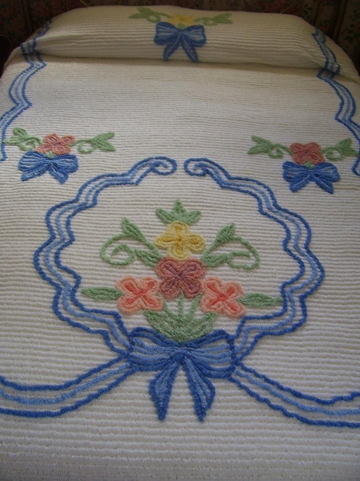 Vintage Bedspread Chenille Floral. $42.00, via Etsy.
