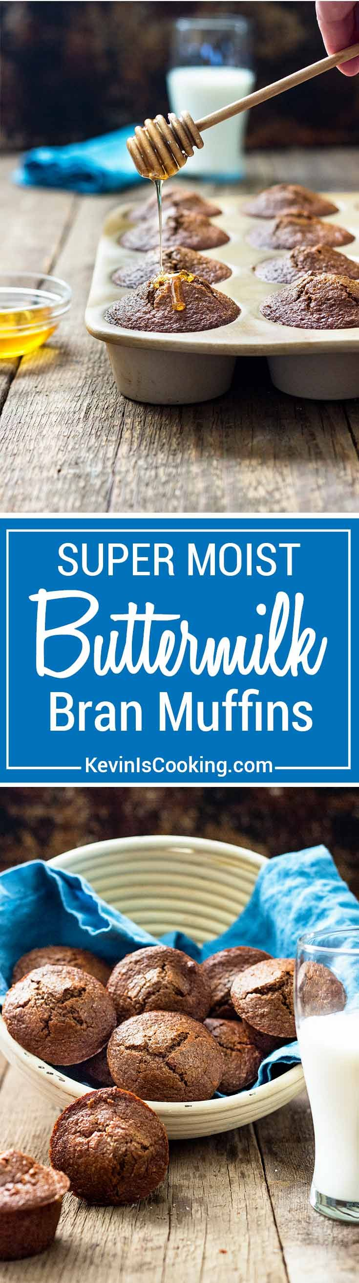 These Super Moist Bran Muffins are dense, great for breakfast with coffee and some fruit. Drizzle honey on top! Buttermilk and Apple Butter are the secret! Your family will love these.