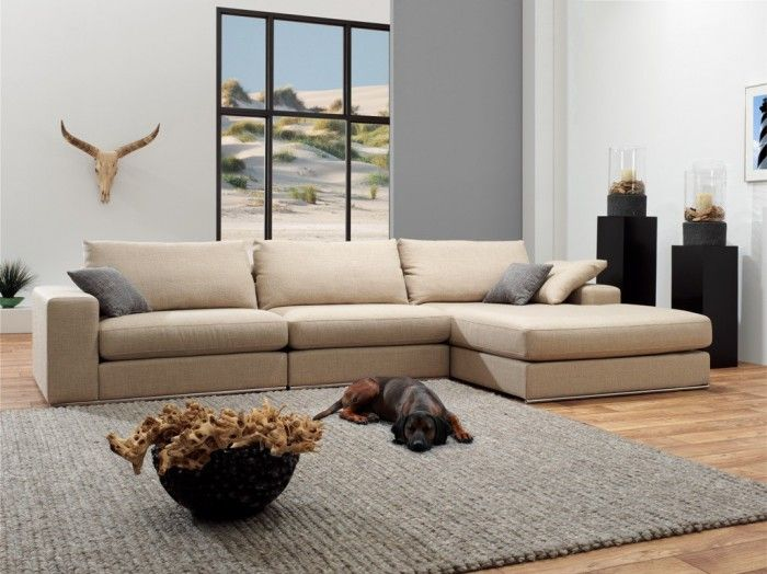 Landelijke lounge bank met extra brede chaise longue! nu voor € 1195,- bij www.meubilex.nl