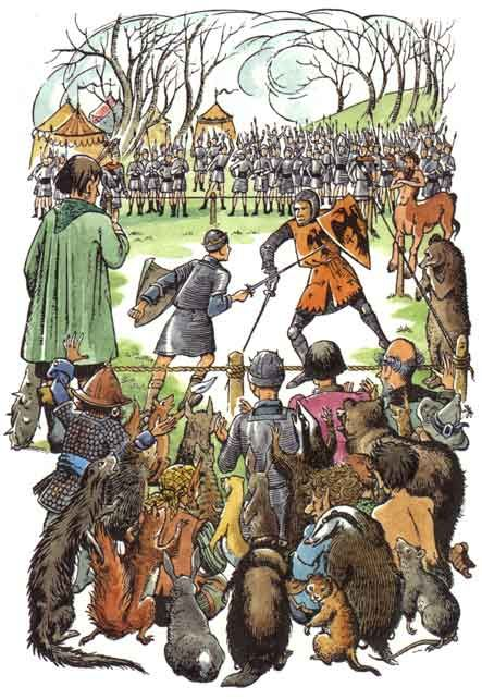 High King Peter fights the Ursurper King Miraz in Prince Caspian, C.S. Lewis