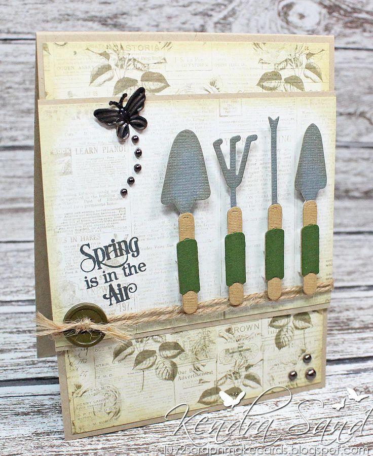 Card garden tools gardening gardener kendra sands for for Gardening tools 6 letters
