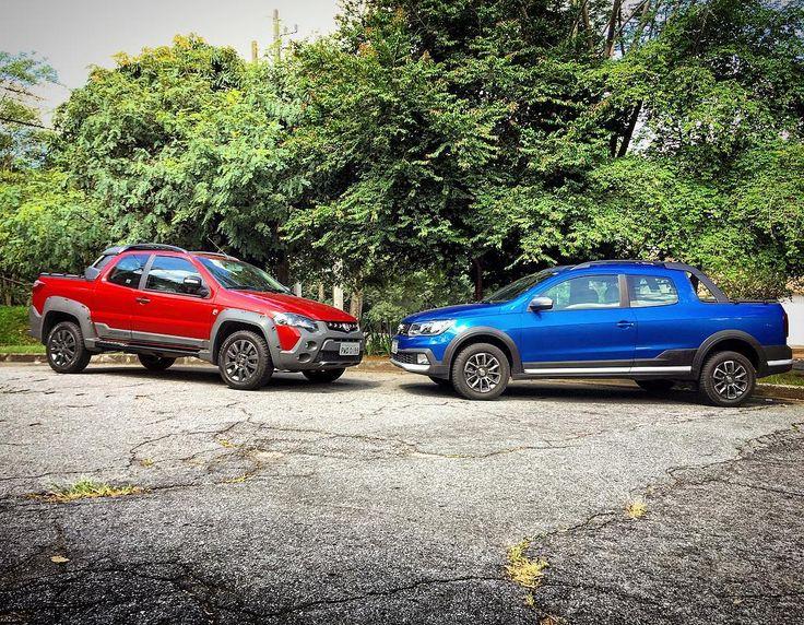 Olha quem voltou! Com o sucesso da Toro as picapinhas menores ficaram esquecidas? #Fiat #Strada e #Volkswagen #Saveiro provam que não em duelo exclusivo de @uolcarros que você confere em breve!  #picape #vw #fiat #adventure #cross #pickup #comparativo #car #instacar #carros