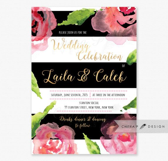 Black U0026 White Wedding Invitation   Printed, Bright Pink Gold Watercolor  Floral Kate Spade Inspired