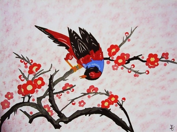 Art Japonais Traditionnel Peinture Papillon Fleurs De
