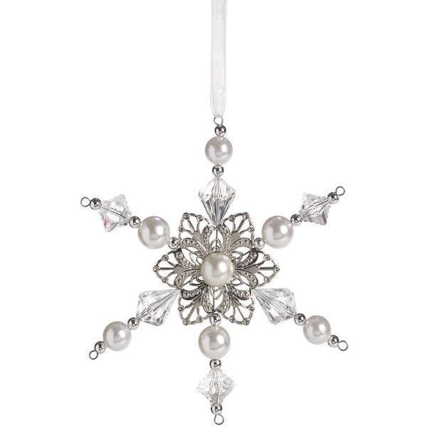 Wilko Frozen Silver Jewel Snowflake Christmas TreeDecoration ($3.04) ❤ liked on Polyvore featuring home, home decor, holiday decorations, christmas ornaments, xmas ornaments, christmas lights, silver christmas lights and snowflake christmas lights
