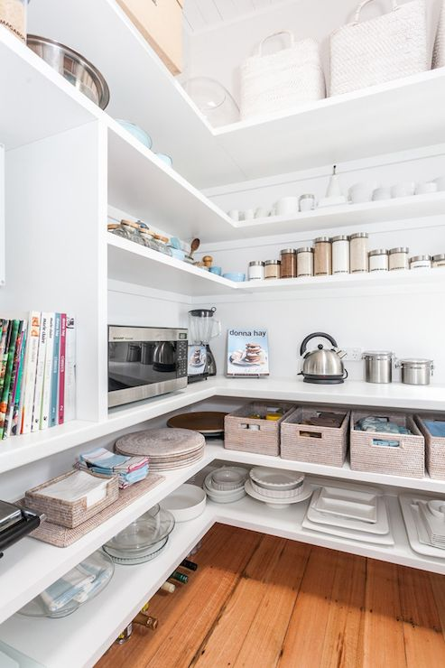 Pantry with Wraparound Shelves