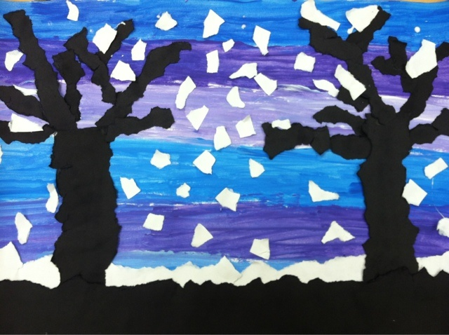 we heart art  3rd...torn paper collage, paint cool sky , tear white snow layer, tear black land silhouette and trees, add torn snowflakes