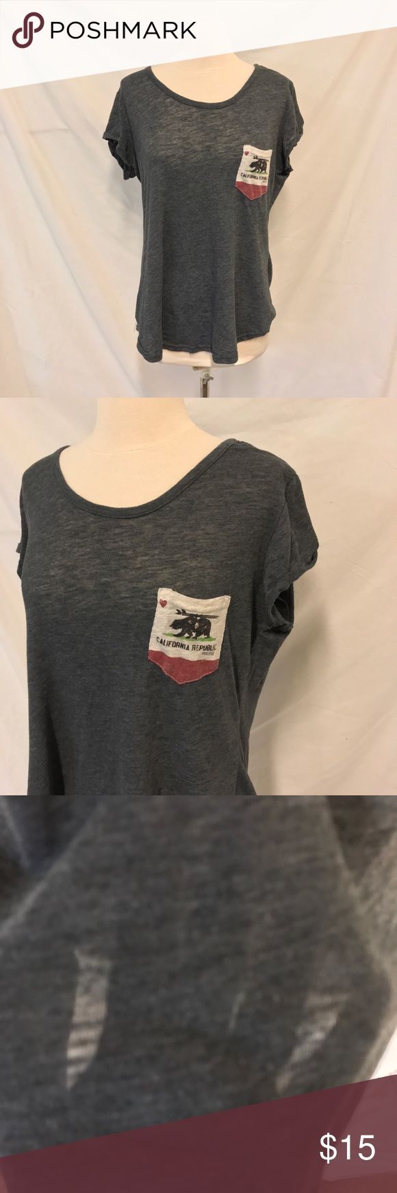 Reflex Gray Burnout Tee with Cali Flag Pocket Reflex. Size 2XL. Gray Burnout Tee with California flag on the pocket. Lightweight material. Scoop Neck. Short sleeve. Does not fit as a 2X, I would say it fits more like a large. Check measurements. Excellent used condition. Bust: 20.5 inches. Length: 26.5 inches. ALL MEASUREMENTS ARE TAKEN WITH ITEM LAYING FLAT. 60% cotton and 40% polyester. ||893|| Reflex Tops Tees - Short Sleeve