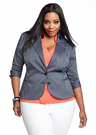Pinstripe Blazer #plus #size (I want this more than I can express!)