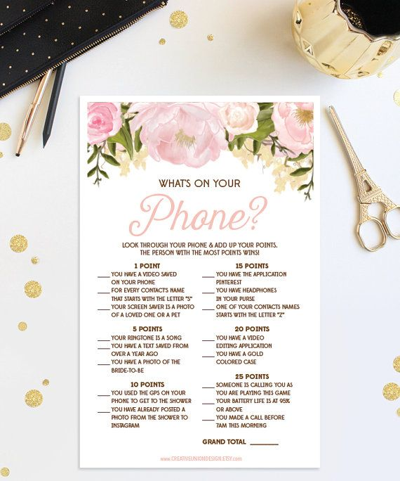 What's On Your Phone Bridal Shower Game - Wedding Shower - Pink Floral Print at Home Instant Download - Phone Game - Bridal Shower Game