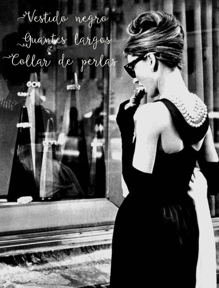 "Mirada retro en modo ""ON"". #Breakfast at Tiffany´s. Destacado: vestido negro, guantes largos, collar de perlas"