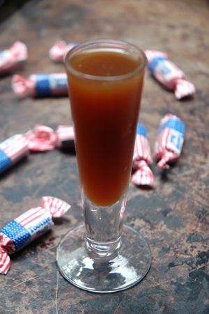 Tootsie Roll Shot. Equal parts orange juice and Kahlua.  Good ol' college days!