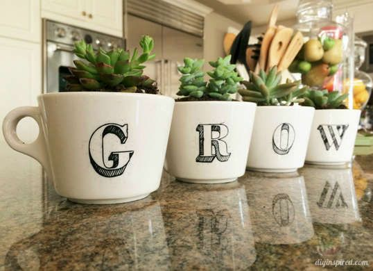 Repurpose old coffee cups as succulent planters.You can use a Sharpie to draw on decorations or monograms