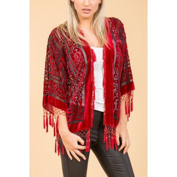 Jayley Red Silk Kimono Jacket found on Polyvore featuring women's fashion, outerwear, jackets, red kimono, silk kimono jacket, silk jacket, red jacket and short kimono